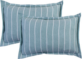 Bsb Home Super Soft 144 Tc Jeresy Cloth Organic Pure Cotton Stripe Pillow Covers-18X28 Inches, Blue Grey, Light Pink