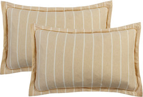 Bsb Home Super Soft 144 Tc Jeresy Cloth Organic Pure Cotton Stripe Pillow Covers-18X28 Inches, Cream Or Wheatnche, Light Pink