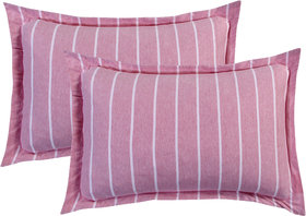 Bsb Home Super Soft 144 Tc Jeresy Cloth Organic Pure Cotton Stripe Pillow Covers-18X28 Inches, Light Pink