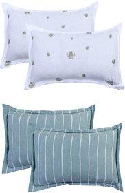 Bsb Home Super Soft 144 Tc Jeresy Cloth Organic Pure Cotton Pillow Covers-18X28 Inches,Set Of 4 Pcs,Colour-Multicolours
