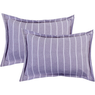 Bsb Home Super Soft 144 Tc Jeresy Cloth Organic Pure Cotton Stripe Pillow Covers-18X28 Inches, Light Purple