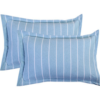 Bsb Home Super Soft 144 Tc Jeresy Cloth Organic Pure Cotton Stripe Pillow Covers-18X28 Inches, Light Blue