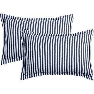 Bsb Home Super Soft 144 Tc Jeresy Cloth Organic Pure Cotton Stripe Pillow Covers-18X28 Inchess,White&Black