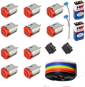 Electronic Hobby Kit,10 Pcs 3v-9v Standard dc Motor, 2 Pcs Hw 9 V Battery, 2 Pcs Swich, 2 Pcs Battery Cap,1 MetreWire