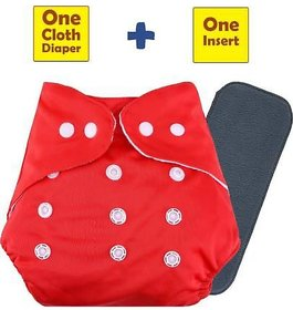 Child Chic Quirk Reusable Baby Washable Cloth Cotton Diaper WITH ONE 5 LAYER BAMBOO CHARCOAL INSERT (red)