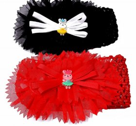 Proplady Floral Cutwork Combo Teddy Baby Girl Head Bands (Pack of 2- Red,Black)