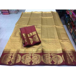 Pemal Designer Beige Kanchipuram Silk Plain Saree With Blouse