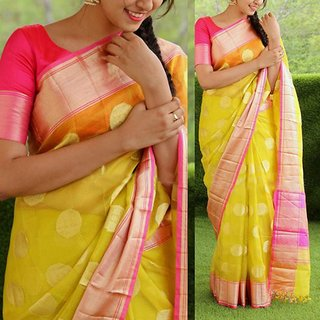 SVB SAree Yellow Art Silk Embellished Saree With Blouse