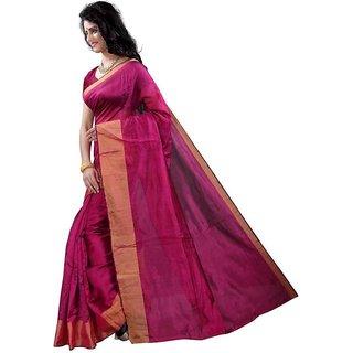 SVB Pink Art Silk Plain With Blouse Saree