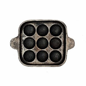 The Indus Valley Cast Iron Cookware - Paniyaram Pan - Square / 9 pits/Black