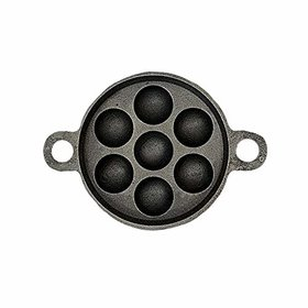 The Indus Valley Super Smooth Cast Iron Cookware - Paniyaram Pan - 7pits / Black
