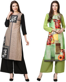 Florence Beige and Green Crepe Floral Print Pack of 2 Kurta Palazzo Set