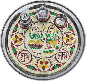 11 inch Meenakari Steel Pooja Thali