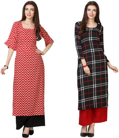 Florence Red and Black Crepe Striped Pack of 2 Kurta Palazzo Set