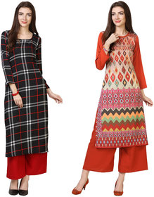 Florence Black and Red Crepe Striped Pack of 2 Kurta Palazzo Set