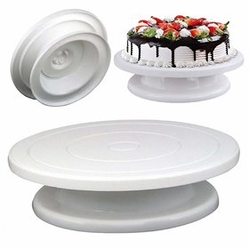 Brand World Plastic Cake Tools 360 Round Easy Rotate Turntable Revolving Cake Decorating Turntable Stand, 28cm (White)
