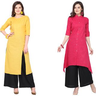 Saadhvi Yellow and Pink Slub Cotton Embellished Pack of 2 Kurta Palazzo Set