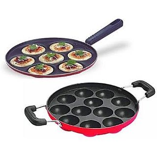 KS Non-Stick 12 Cavity Appam Patra/Ponganal Maker Paniarakkal with Lid Aluminium Non-Stick