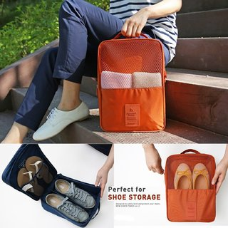 EXCLUSIVE 3 Pair Water Proof Shoe Storage Travel Tote Bag Multi-Purpose  Foldable  (Random Color)