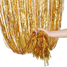 Hippity Hop Gold Shiney Foil Curtain For Girls Birthday Decoration