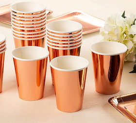 Hippity Hop Rose Gold Paper Cups - Disposable 12Oz Cups / Glass Pack of 10