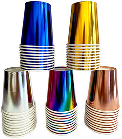 Hippity Hop Silver Paper Cups - Disposable 12Oz Cups / Glass Pack of 10