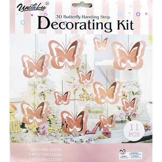 Hippity Hop Rose Gold Butterfly 3D Hanging Paper Garland Kit For Party