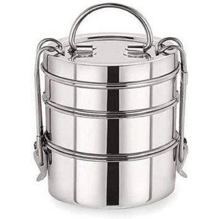 Hemant STEEL'S Stainless Steel Clip Tiffin sada, 7x3 3 Containers Lunch Box 3 Containers Lunch Box (1200 ml) 3 Container