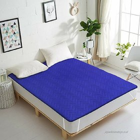 HomeStore-YEP Blue Quilted Mattress Protector for Double Bed Size 75x72 inches