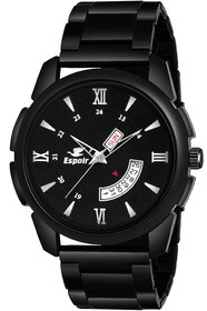 Espoir Analogue Stainless Steel Black Dial Day and Date Boy's and Men's Watch - Jordan0507