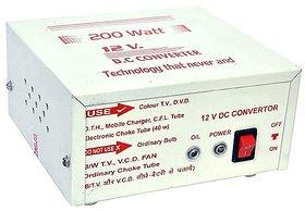 JAMUS High Power USB 12V DC to 200 Watt AC Converter 200 Watt Worldwide Adaptor (White)