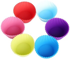 6 Pcs Round Silicone Muffin Moulds/Cup Cake Mould