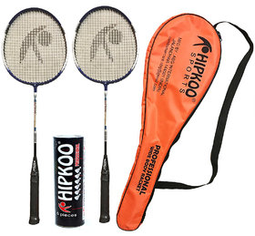 Hipkoo Professional Badminton Kit (Wide Body Rackets Set Of 2 and 6 Feather Shuttles)