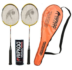 Hipkoo Professional Wide Body Rackets With Feather Shuttles (Pack Of 6)