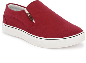 REFOAM Men's MAHROON TEXTILE Slip On Casual Sneakers