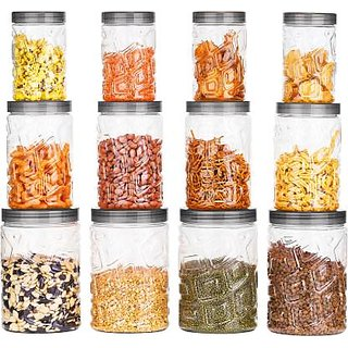 BLUMOON Zig-Zag Kitchen Storage Jars Containers Combo Set Of 12 - 350 ml, 750 ml, 1200 ml Plastic Grocery Container .