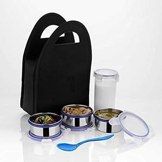 BLUMOON Royal Stainless Steel Lunch Box Set, 5-Pieces, Black 5 Containers Lunch Box  (1000 ml)