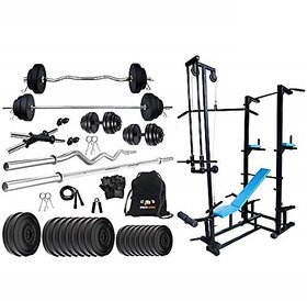 Sporto Fitness Pvc 60 Kg Home Gym Set With One 3 Ft Curl+ One 5 Ft Plain Rod And One Pair Dumbbell Rods Comes With Ab Tower Bench