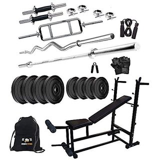 Sporto Fitness Pvc 60 Kg Home Gym Set With One 3 Ft Curl+ One 5 Ft Plain Rod And One Pair Dumbbell Rods Comes With 6 In1
