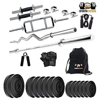 Sporto Fitness 30 Kg Pvc Combo Leather Home Gym And Fitness Kit