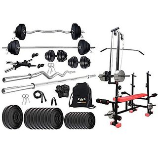 Sporto Fitness Pvc 80 Kg Home Gym Set With One 3 Ft Curl+ One 5 Ft Plain Rod And One Pair Dumbbell Rods Comes With 20 In 1 Bench.