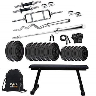 Sporto Fitness Pvc 60 Kg Home Gym Set With One 3 Ft Curl+ One 5 Ft Plain Rod And One Pair Dumbbell Rods Comes With Flate Bench