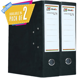 BindEx Premium Quality Office Lever Arch Box File (Black) Pack of 2