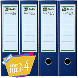 BindEx Premium Quality Office Lever Arch Box File Laminated (Blue) Pack of 4