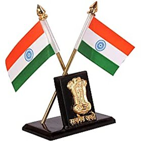 Decorative Indian Flag Stand With Ashok Stambh For Car Dashboard