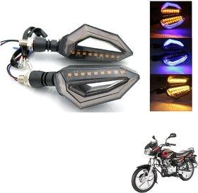 Auto Addict Bike Indicator Lights D shaped 4Pcs 9 LED DRL (Blue) Turn Signal Lights Yellow For Bajaj Discover 125