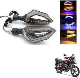 Auto Addict Bike Indicator Lights D shaped 4Pcs 9 LED DRL (Blue) Turn Signal Lights Yellow For Hero Passion Pro TR