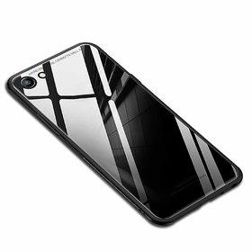 Maggzoo Glass Back Case Cover Soft Edge Protective TPU Bumper Black Glass For Oppo F3 Plus