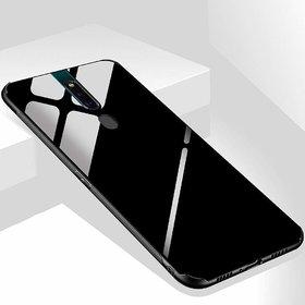 Maggzoo Glass Back Case Cover Soft Edge Protective TPU Bumper Black Glass For Oppo F11 pro