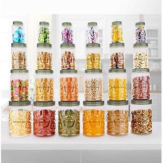 BLUMOON  Zig-Zag Modular Kitchen Storage Containers Set Of 24 - 350 ml, 750 ml, 1200 ml, 2000 ml Plastic.